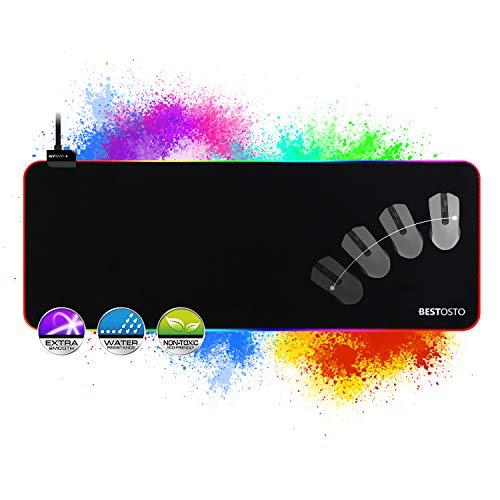 Tappetino Mouse Gaming Grande XXL, 800x300mm RGB Mouse Pad, 14 LED Colori e Effetti di Luce, Superficie Impermeabile, Base in Gomma Antiscivolo, RGB Tappetini per il Mouse per Computer, PC e Laptop