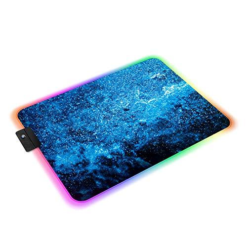 Tappetino Mouse RGB, Gaming Tappetino per Mouse con 14 LED Colori e Effetti di Luce, Precisione e velocità, Lavabile Mouse Pad Gaming Tappeti per Computer PC e Laptop, 350x250x4 mm