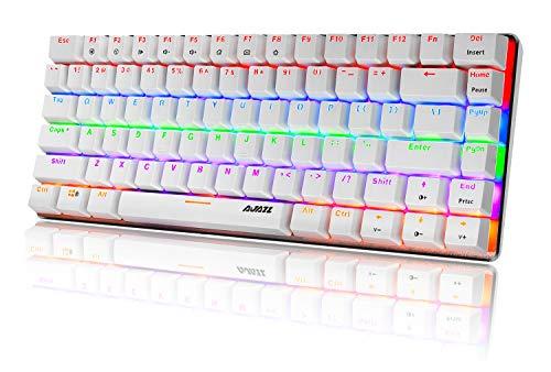 Tastiera Meccanica da Computer Gaming, USB Cablata 82 Tasti Anti-Ghosting Blue Switch Tastiera Gioco Arcobaleno Multicolore Illuminata Backlit, Mechanical Keyboard Compatta Ergonomica Bianco