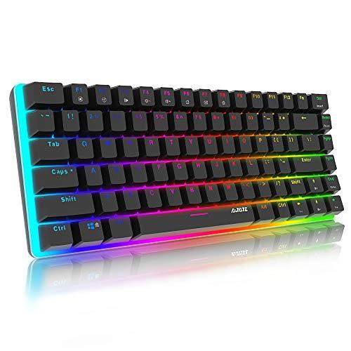 Tastiera Meccanica Gaming RGB 82 Tasti,100% Anti-ghosting Switches Blu,Retroilluminazione RGB con 16.8 milioni AK33 Tastiera da Gioco per PC,Mac,Nero.