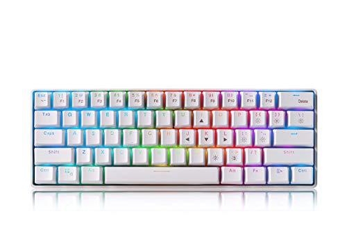 Tastiera meccanica RGB 60% compatta per gaming, cablata e wireless con 61 tasti, tastiera Blue Switches con batteria ricaricabile da 1850 mA per Windows/MacOS/Android, colore: bianco