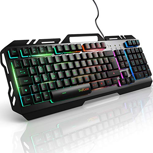 Tastiera, TedGem Tastiera Gaming, PC Tastiera, LED Tastiera Retroilluminata, USB Gaming Keyboard Pannello Metallico - Anti ghosting, per PC, Laptop/Desktop, Xbox One, Mac (Nero)
