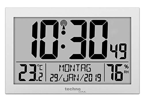 Technoline WS8016 WS 8016 Orologio da parete radiocontrollato con indicatore di temperatura, in plastica, argento, 225 x 143 x 24 mm