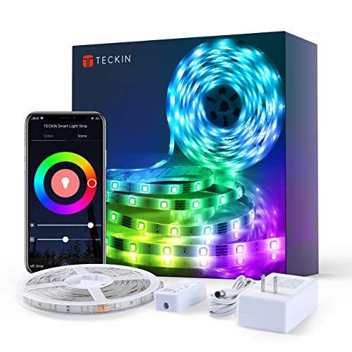 TECKIN Alexa Striscia di luci Led intelligente, 5 metri 5050 rgb Led, con telecomando, striscia flessibile con colori intercambiabili, per tv, stanza da letto, feste e decorazioni