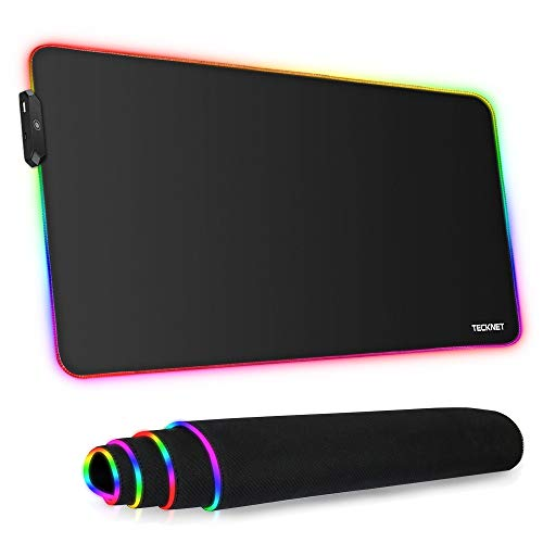 TECKNET Tappetino per Mouse RGB, 800x400x4mm Tappetino Mouse Gaming Ultra-Spesso con 12 Modalità di Emissione Della Luce, Superficie Impermeabile e Antiscivolo, Adatto per MacBook, PC, Laptop, Desktop