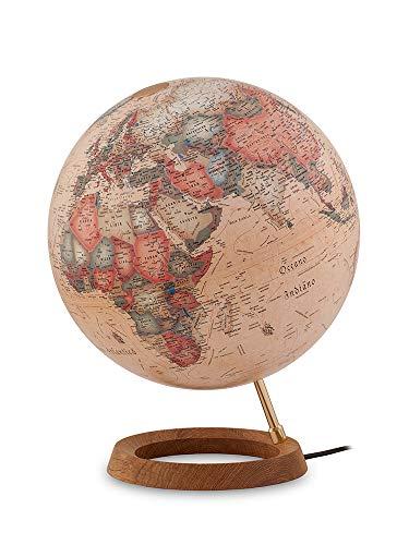Tecnodidattica – Mappamondo Atmosphere FC1, luminoso, girevole, base in legno di Rovere, cartografia Stile Antico, diametro 30 cm