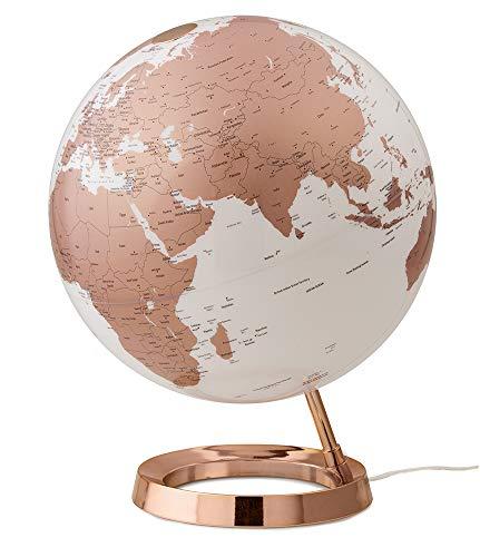 Tecnodidattica – Mappamondo Light&Colour Metal Copper | Luminoso, girevole, con cartografia Politica aggiornata | Lampada di design | Diametro 30 cm