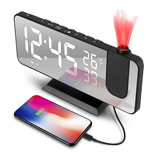 tEEZErshop Sveglia Digitale,Radiosveglia con Proiettore 180°, radiosveglia con porta USB,grande display a LED Snooze, 4 luminosità di proiezione con dimmer automatico, sveglia da comodino con FM Radio