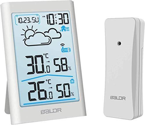 TEKFUN Stazione meteorologica radio con sensore esterno, termometro digitale igrometro interno ed esterno termometro ambiente igrometro umidità con previsioni meteo, orologio
