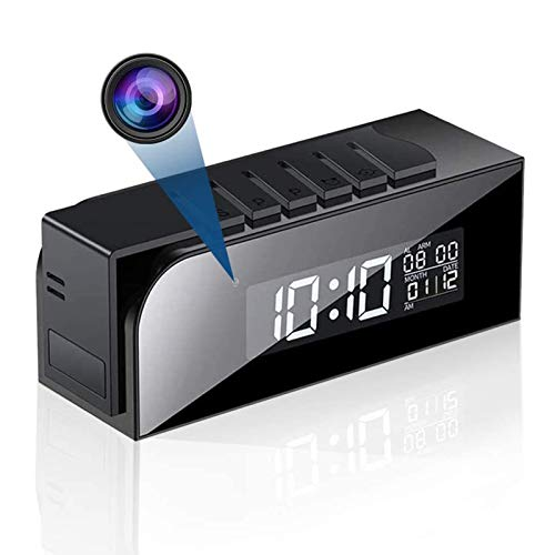 Telecamera Spia Wireless, Sveglia WiFi con Microcamera Spia Telecamera Nascosta full HD 1080P con Visione Notturna e Rilevamento del Movimento-Batteria da 3000 mAh e Ricaricabile