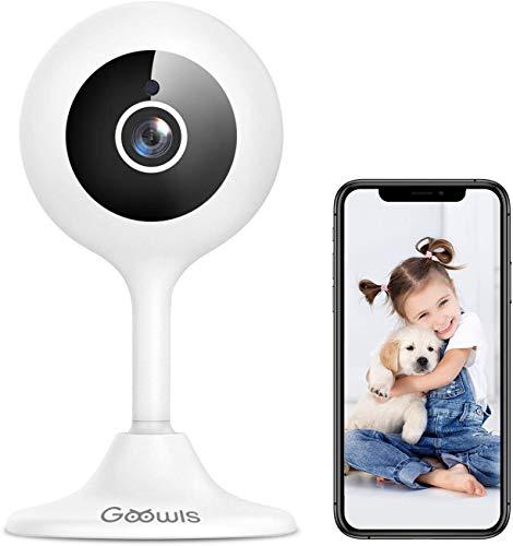 Telecamera Wi-Fi Interno, Goowls 1080P Videocamera Sorveglianza Interno WiFi per Bambini/Animali/Tata Monitor con Visione Notturna, Rotazione a 360°, Audio Bidirezionale Compatibile con Alexa (White)