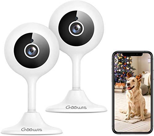 Telecamera Wi-Fi Interno, Goowls 1080p Videocamera Sorveglianza interno WiFi, Audio Bidirezionale, Tracciamento del Movimento, Cloud, Compatibile con Alexa, 2 pcs
