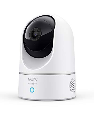 Telecamera wi-fi interno smart eufy Security 2K panoramica, videosorveglianza con AI per riconoscimento persone/animali, assistenza vocale, visione notturna, non richiede HomeBase, microSD non inclusa