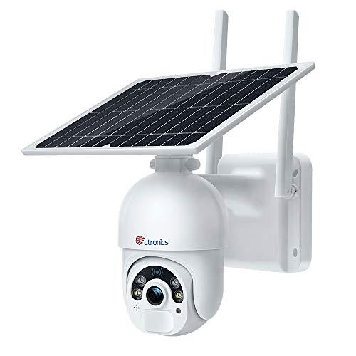 Telecamera Wifi Esterno con Batteria e Pannello Solare, Ctronics PTZ Wifi Telecamera di Sicurezza con Pan 355° e Tilt 90°Radar PIR Doppia Modalità di Rilevazione Auto Tracking e Audio Bidirezionale