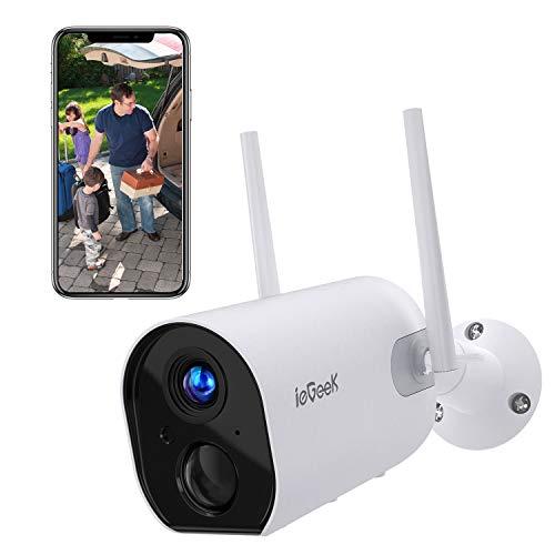 Telecamera WiFi Interno/Esterno Senza Fili ieGeek FHD 1080P Videocamera di Sorveglianza con 15000mAh Batteria, Rilevazione PIR, Audio Bidirezionale, Visione Notturna, Compatibile con Scheda SD/Cloud