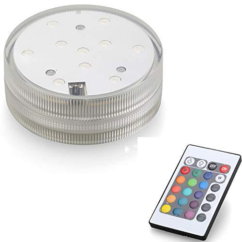 Telecomando multicolore RGB LED, illuminazione subacquea impermeabile, cambia colore, per vaso, fiori, acquario, laghetto, matrimonio (1 pezzo)