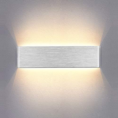 Temgin Applique da Parete Interno LED 10W Lampada da parete Bianco caldo 30CM Argento Moderne per Camera da letto Soggiorno Scala Corridoio Alluminio Spazzolato
