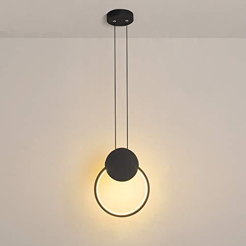 Temgin Lampadario Aluminium LED Rotondo Lampada a sospensione 12W Altezza regolabile Nero Lampada da soffitto moderna per sala da pranzo Soggiorno Cucina Corridoio Bianco freddo caldo neutro