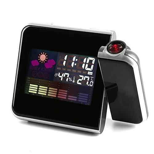 Tenyua - Orologio da tavolo con sveglia digitale, con proiettore, schermo a colori, orologio di proiezione dell'ora, multifunzione, tempo
