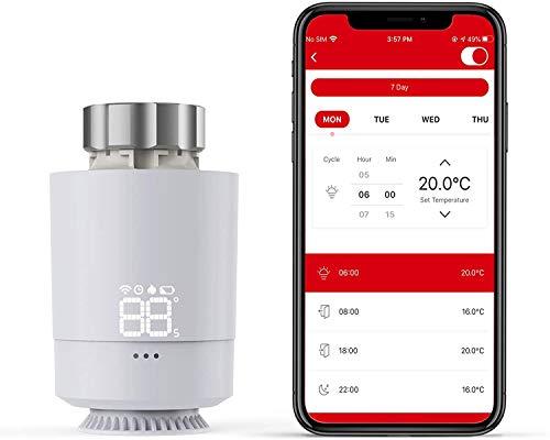 Termostatica Intelligente Wifi Display LCD Senza Hub, SEA802DF Meterk estione Intelligente del Riscaldamento, Installazione Fai da Te, Usa l'Assistente Gooogle e il controllo vocale di Alexa