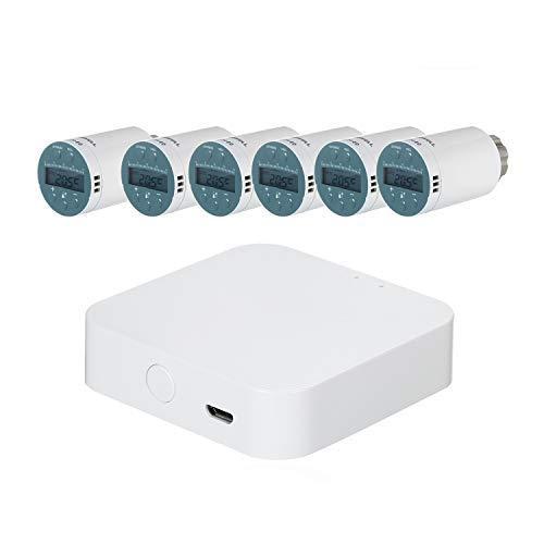 Termostato radiatore programmabile,Valvola termostatica per termosifoni compatibile con Amazon Alexa Google Home,Termostato per radiatori,Tuya APP Zigbee