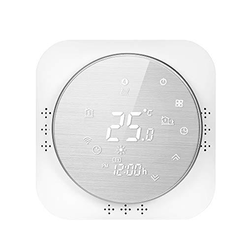 Termostato WiFi per Caldaia a Gas Murale Da Parete,Termostato intelligente Schermo LCD(Pannello spazzolato) Touch Button Retroilluminato Programmabile con Alexa e Telefono APP-Bianco
