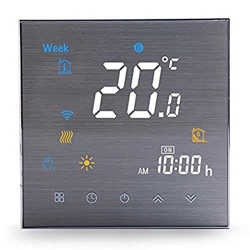 Termostato WiFi per Caldaia a Gas/Acqua,Termostato intelligente Schermo LCD(Pannello spazzolato) Touch Button Retroilluminato Programmabile con Alexa e Telefono APP