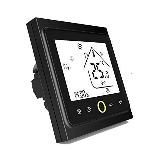 Termostato WiFi per Caldaia a Gas,Termostato intelligente Schermo LCD(TN schermo) Touch Button Retroilluminato Programmabile con Alexa ecc e Telefono APP-Nero