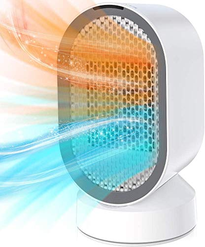 Termoventilatore Elettrico Ceramica,600W Stufe Elettriche Portatile PTC Riscaldamento Rapido,Protezione da Surriscaldamento e Eibaltamento,Oscillazione a 45° Basso Consumo Silenzioso per Casa Ufficio