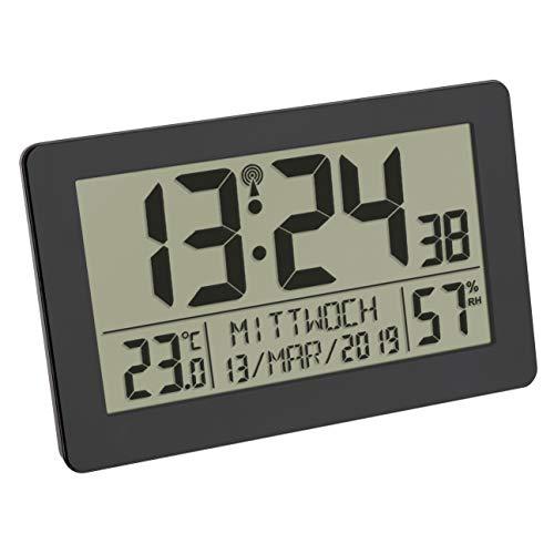 TFA Dostmann - Orologio Digitale da Parete a Controllo Radio, con Display Grande, visualizzazione della Temperatura, Data, Giorno della Settimana, in plastica, 206 x 30 x 130 mm