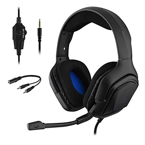 THE G-LAB Korp COBALT Cuffie da Gaming PS4 - Microfono Cuffie Stereo, Ultra Leggero, Cuffie per Basso Elettrico - Mic Jack da 3,5 mm per PC PS4 Xbox One Mac Nintendo Switch Tablet Smartphone (Nero)