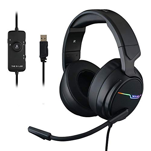 THE G-LAB Korp THALLIUM Cuffie da Gaming USB Sound 7.1 Surround Digitale - Cuffie Audio di Alta Qualità - Microfono con Cancellazione del Rumore - LED RGB - Compatibile con PC Mac (Nero)