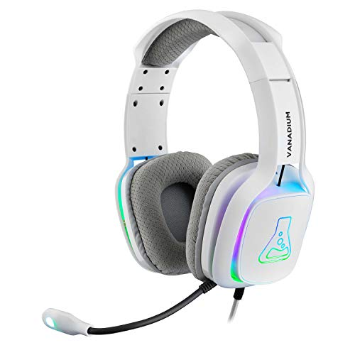 THE G-LAB Korp VANADIUM Cuffie da Gaming - Microfono Stereo, Ultra Leggero, Cuffie per Basso Elettrico - Mic Jack da 3,5 mm per PC/PS4/Xbox One/Nintendo Switch/Mac/Smartphone/Tablet - NUOVO (Bianco)
