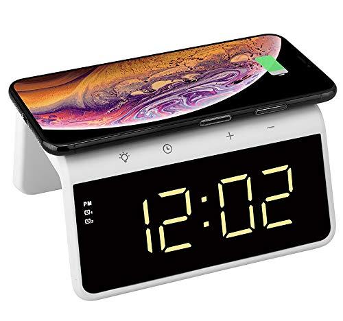 Think Gizmos Sveglia Digitale da Comodino Wireless con Pad Qi di Ricarica – Sveglia da Comodino Senza Fili con 2 Allarmi – Orologio Digitale Moderno con Luce Notturna Cangiante – TG809 – Bianca