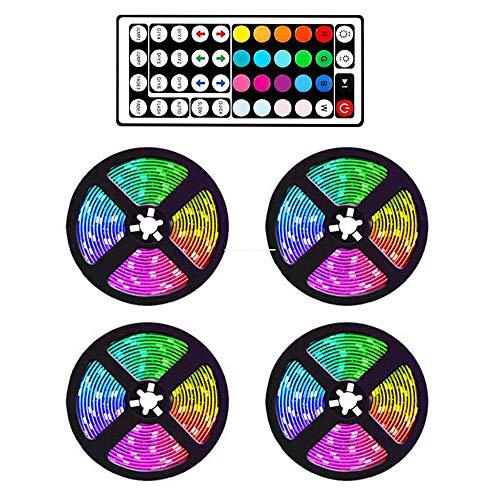 Tiamu Striscia LED RGB 20M Cambia Colore con Telecomando a Doppia Testa, per casa, interni ed esterni, TV, cucina