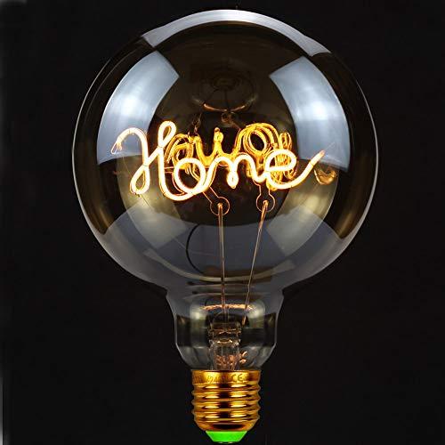 """TIANFAN, lampadina vintage a LED da 4 Watt, dimmerabile, con scritta """"Love/Home"""", lampadina decorativa 220/240 V E27 per lampada da tavolo, Vetro, Home, E27, 4.00W 240.00V"""