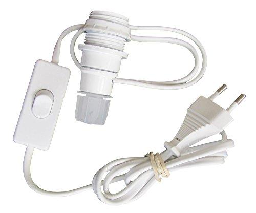 Tibelec 859110 - Adattatore da bottiglia E14, con interruttore e spina, colore: bianco
