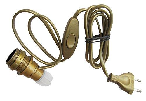Tibelec 859130 - Adattatore a bottiglia E14, con interruttore + spina, colore: oro