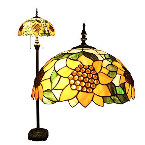 Tiffany 16 pollici Girasole Bead europeo stile pastorale di lusso elegante creativo fatto a mano di vetro macchiato di Tiffany lampada da terra