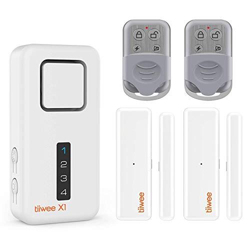 Tiiwee X1 Allarme Casa Senza Fili con Sirena da 120 dB, 2 Sensori per Finestre Porta e 2 Telecomandi - Kit Antifurto - Batterie Incluse – Installazione Facile - Anti-Effrazione - Sicurezza Domestica