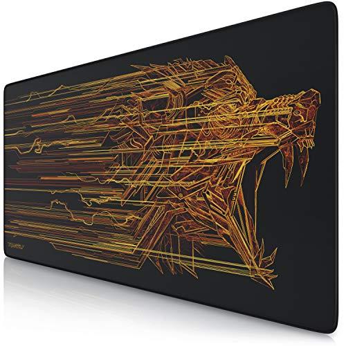 TITANWOLF - XXL Tappetino per Mouse da Gioco - Gaming Mousepad Extra Grande 900 x 400mm - Pad con Base in Gomma Antiscivolo - Spessore 3mm - Modello Orange Lightning