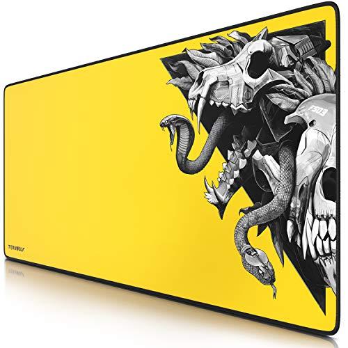 TITANWOLF - XXL Tappetino per Mouse da Gioco - Mousepad Gaming 900 x 400mm – Idrorepellente -Base in Gomma Antiscivolo – Modello Skull Yellow