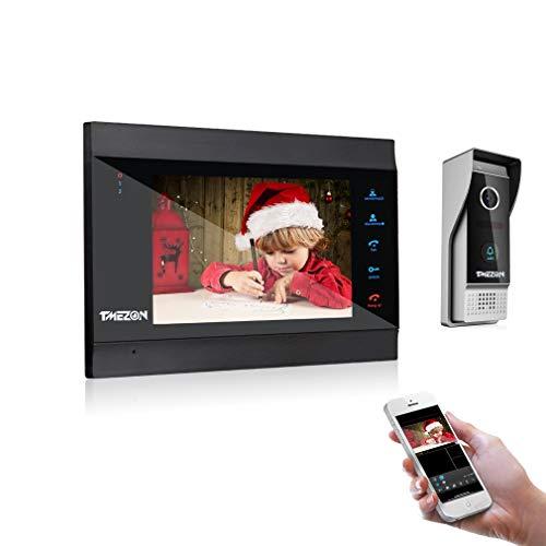 TMEZON 1080P nuova versione Wifi Sistema Videocitofonico Con Citofono,7 Pollici IP Monitor Con Telecamera Esterna Cablata, Registra video o foto,TuyaSmart APP