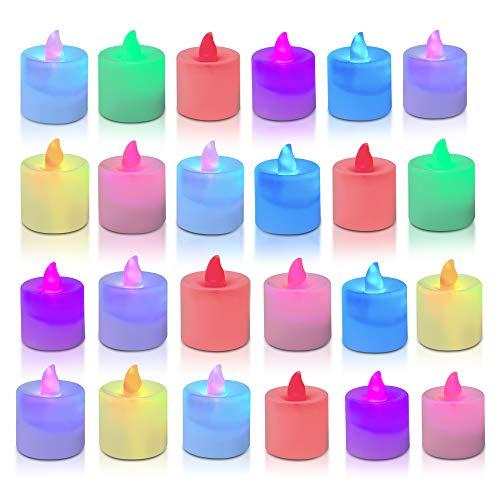 TOGETOP - Candele a LED, 24 LED, senza fiamma, per Natale, matrimonio, Pasqua, feste (colorate)