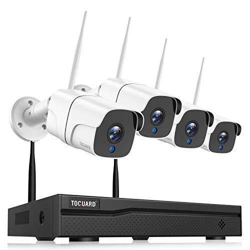 TOGUARD Kit Videosorveglianza WiFi, 8CH 1080P NVR 4Pcs 1080P, Caméras de Surveillance sans Fil Intérieur/Extérieur avec Détection de Mouvement, Vision Nocturne, IP66 Impermeabile, Collega e Usa