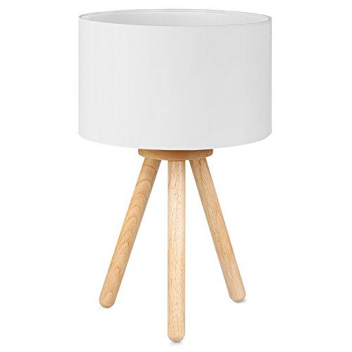 Tomons Lampada da comodino in legno, treppiede, Paralume classico in tela, adatta per camera da letto, soggiorno, studio e ufficio, altezza 39 cm, 1 x Lampadina LED da 4 W inclusa - Bianco