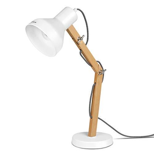 Tomons Lampada da Tavolo LED Lampada da Scrivania Scandinavo - Design in Legno Braccio Pieghevole - Lampada da Comodino Bianca da Lettura per Studio e per Ufficio, Luce da Comodino - DL1004