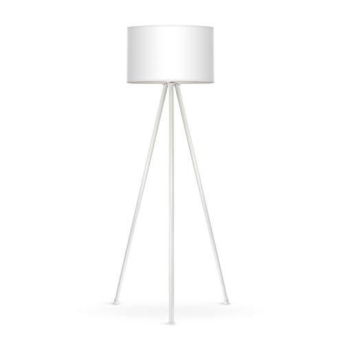 Tomons Lampada da Terra LED Dimmerabile Contemporanea con Treppiede in Metallo, per Soggiorno e Camera da Letto, Stile Scandinavo - Bianco