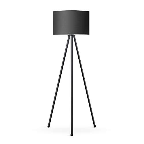 Tomons Lampada da Terra LED Dimmerabile Contemporanea con Treppiede in Metallo, per Soggiorno e Camera da Letto, Stile Scandinavo - Nero