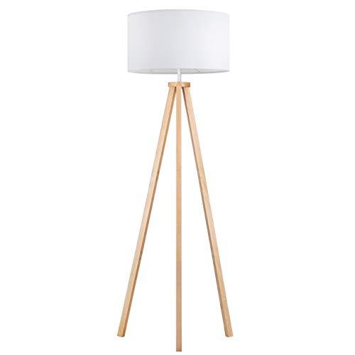 Tomons Lampada da Terra LED Dimmerabile Treppiede in Legno, Moderna per Soggiorno, Camera da Letto, Studio, Hotel e Ufficio